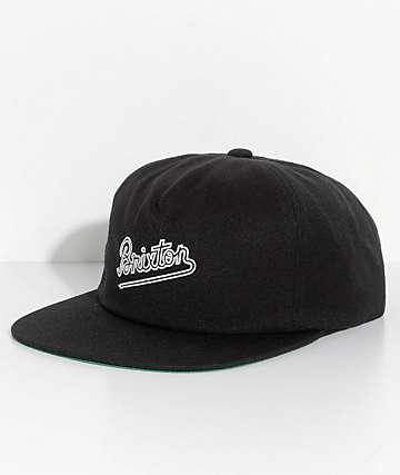 Brixton Hammond Black Strapback Hat