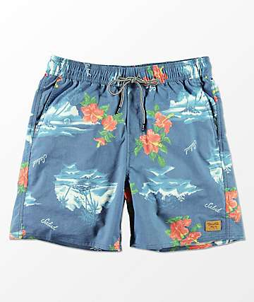 Brixton Havana Blue Tropical Print Elastic Waist Board Shorts