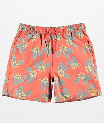 Brixton Havana Red Floral Elastic Waist Hybrid Shorts