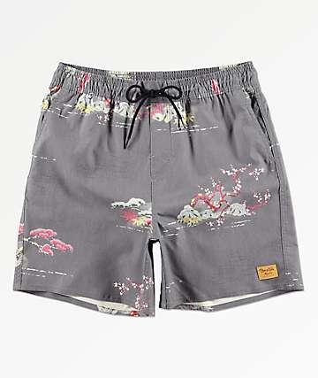 aff4657e14617 Brixton Havana Trunk Dark Grey Elastic Waist Hybrid Shorts