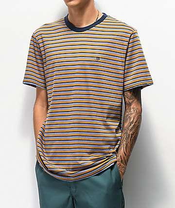 Brixton Hilt Blue & Gold Mini Stripe T-Shirt