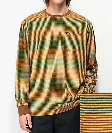 Brixton Hilt Brown Stripe Long Sleeve Pocket T-Shirt
