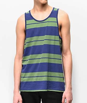 Brixton Hilt Green & Blue Striped Tank Top