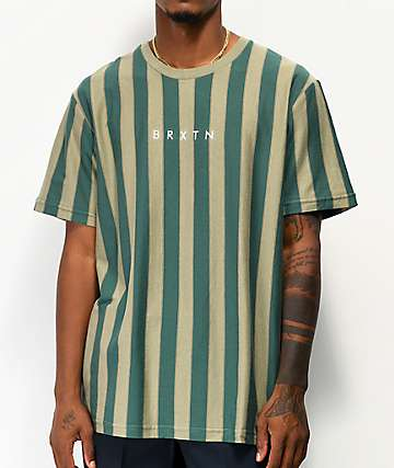 Brixton Hilt Green Stripe Knit T-Shirt