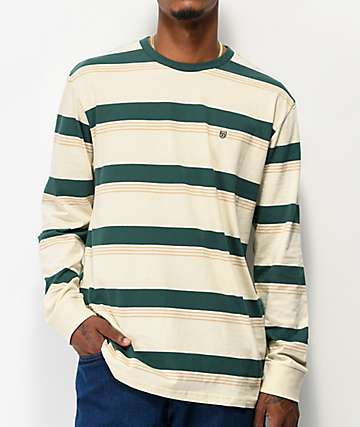 Brixton Hilt Green Stripe Long Sleeve T-Shirt