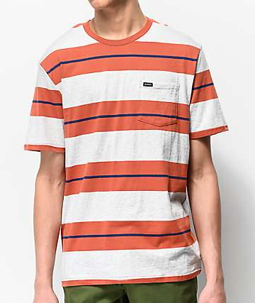Brixton Hilt Orange & Cream Striped Pocket T-Shirt