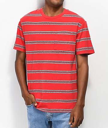 Brixton Hilt Red & Grey Striped T-Shirt