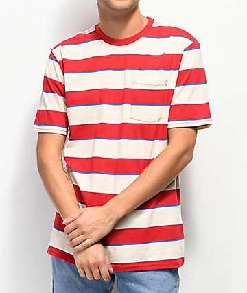 Brixton Hilt Red & Tan Stripe Knit T-Shirt