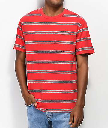 Brixton Hilt Red & Grey Striped T-Shirt