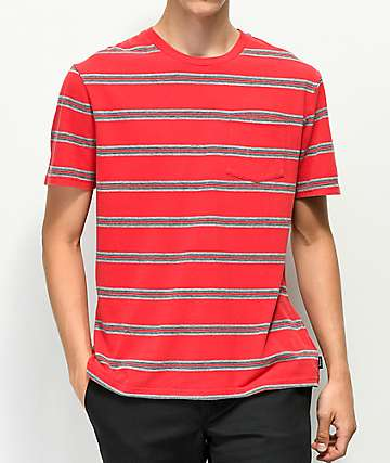 Brixton Hilt Washed Red & Black Stripe T-Shirt