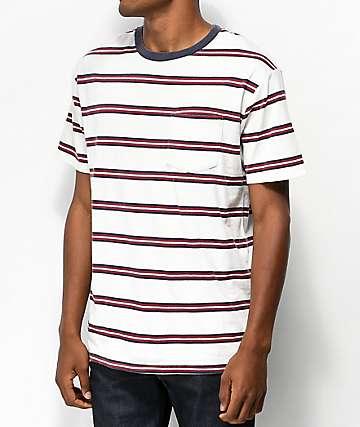 Brixton Hilt White Striped T-Shirt