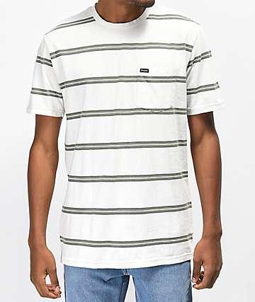 Brixton Hilt camiseta blanca de rayas verdes