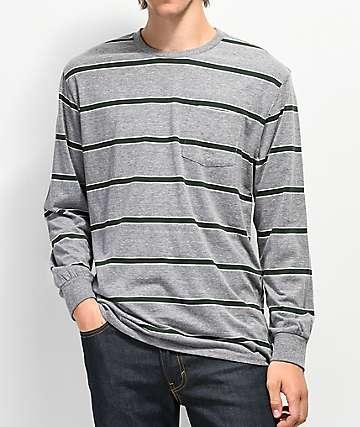 Brixton Hilt camiseta de manga larga gris y verde de rayas