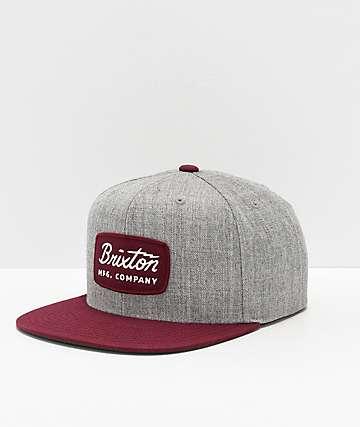 Brixton Jolt Heather & Burgundy Snapback Hat