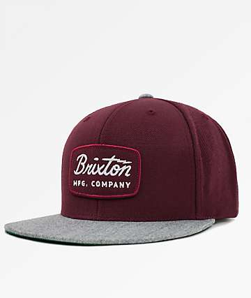 Brixton Jolt Heather Grey & Maroon Snapback Hat