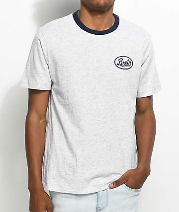 Brixton Kansas Heather Grey & Navy T-Shirt