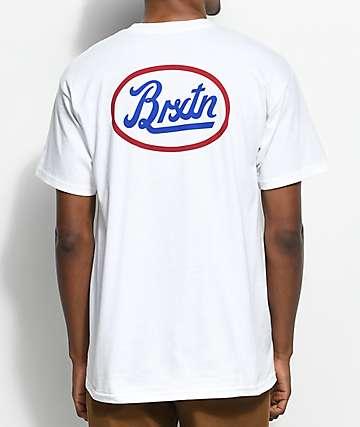 Brixton Kansas camiseta blanca, azul y roja