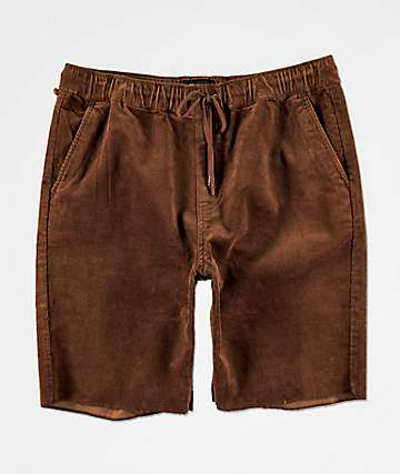 Brixton Madrid II Brown Corduroy Drawstring Shorts