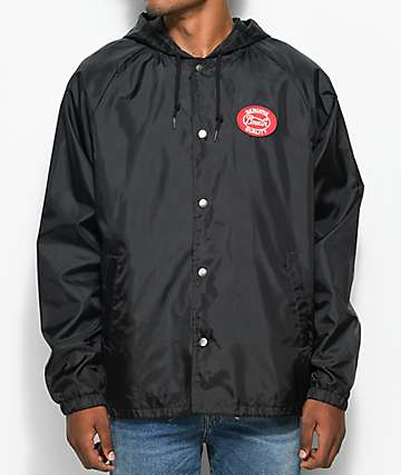 Brixton Merced Black Hooded Coaches Jacket