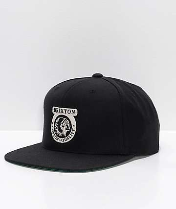 be809358259 Brixton Native II Black Snapback Hat