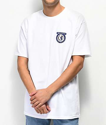 Brixton Native II White & Navy T-Shirt