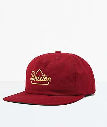 Brixton Newbury Burgundy Snapback Hat