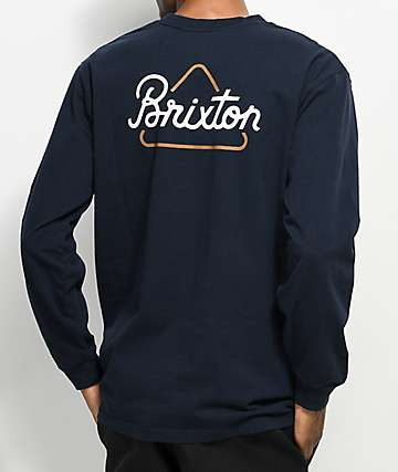 Brixton Newbury camiseta de manga larga en azul marino