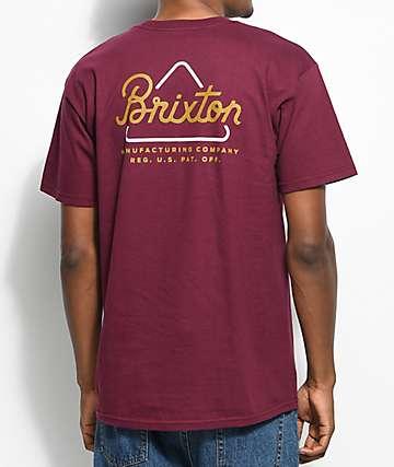 Brixton Newbury camiseta en color borgoño