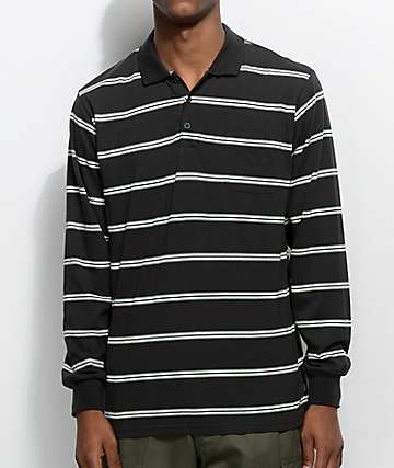Brixton Noah Black Wash Long Sleeve Polo Shirt