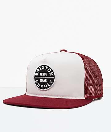 Brixton Oath III Burgundy & White Mesh Snapback Hat