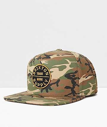 Brixton Oath III Camo & Black Snapback Hat