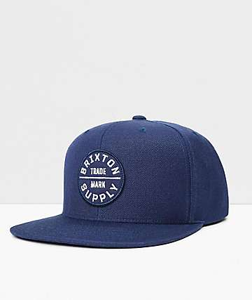 Brixton Oath III Washed Navy & White Snapback Hat