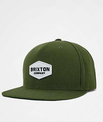 Brixton Obtuse Olive Snapback Hat