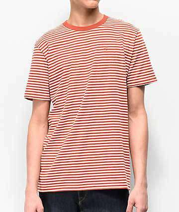 Brixton Pablo Orange & White Striped Knit T-Shirt