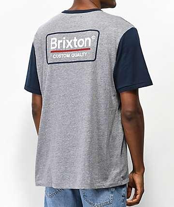 Brixton Palmer Grey & Navy T-Shirt