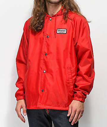 Brixton Palmer Hooded Red Coaches Jacket