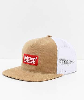Brixton Palmer gorra caqui y de malla blanca