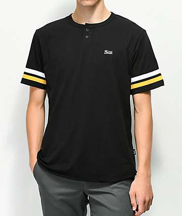Brixton Potrero Black & Yellow Henley T-Shirt