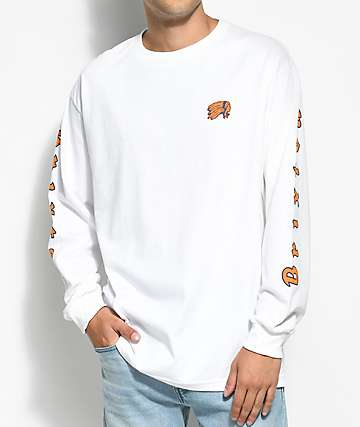 Brixton Primo White, Orange & Blue Long Sleeve T-Shirt