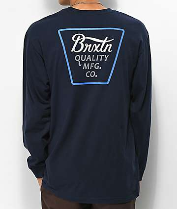 Brixton Protrero Navy Long Sleeve T-Shirt