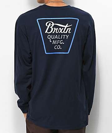 Brixton Protrero Navy Long Sleeve T-Shirt