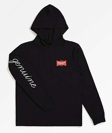 Brixton Ramsey SV Black Hooded Long Sleeve Knit T-Shirt