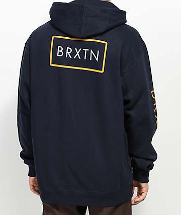 Brixton Rift II sudadera con capucha en azul marino y amarillo