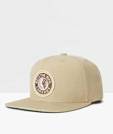 Brixton Rival Khaki & Brown Snapback Hat