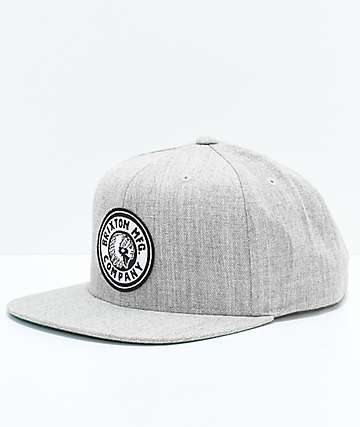 Brixton Rival Light Grey & Off-White Snapback Hat