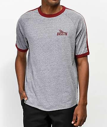 Brixton Rogers II Grey & Burgundy T-Shirt