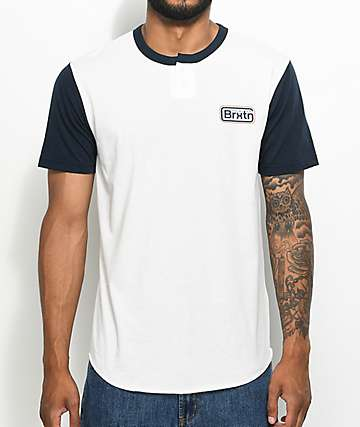Brixton Springfield Navy & White Two Tone Henley T-Shirt