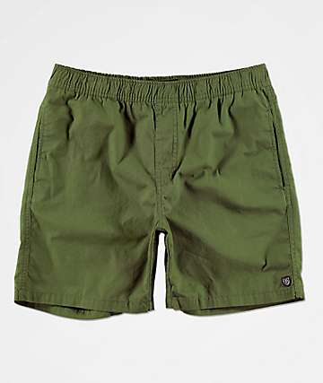 Brixton Steady Green Elastic Waist Shorts