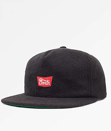 Brixton Stith Black Snapback Hat