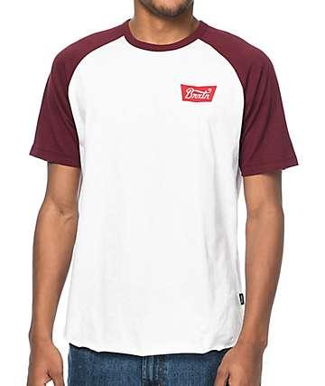 Brixton Stith Burgundy & White T-Shirt
